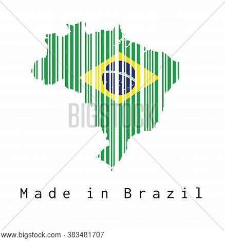 Barcode Set The Shape To Brazil Map Outline And The Color Of Brazil Flag On White Background With Te