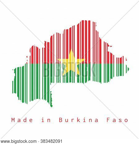 Barcode Set The Shape To Burkina Faso Map Outline And Flag Color On White Background, Text: Made In