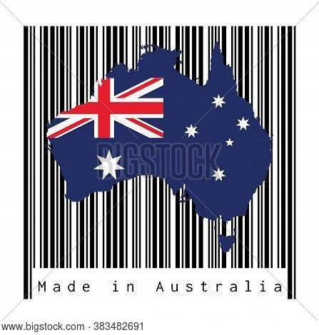 Map Outline And Flag Of Australia On Black Barcode With White Background, Text: Made In Australia. C