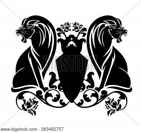 Two Roaring Lions Sitting By Heraldic Shield Among Rose Flowers - Antique Style Coat Of Arms Black A