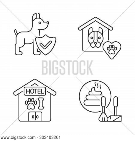Animal Welfare Linear Icons Set. Dog Hotel, Animal Shelter, Poop Scooping And Life Insurance Customi