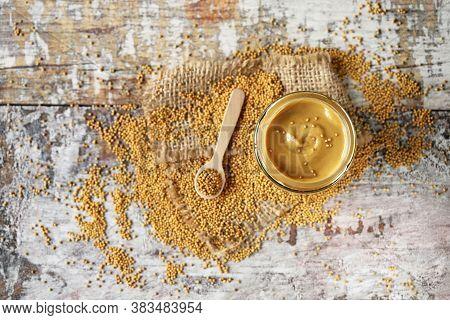 Jar Of Mustard And Mustard Seeds. Homemade Spicy Mustard.