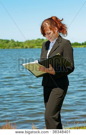 Business Lady Working Outdoor