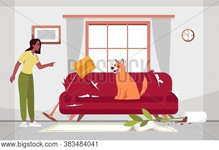 Messy Living Room And Naughty Dog Semi Flat Vector Illustration. Shabby Sofa. Fallen Vase With Flowe