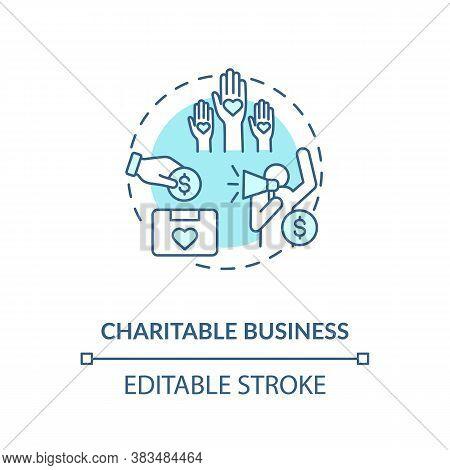 Charitable Business Concept Icon. Investment In Non Profit Organizations Idea Thin Line Illustration
