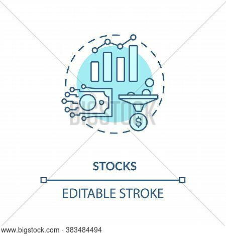 Stocks Concept Icon. Business Investment, Broker Occupation Idea Thin Line Illustration. Buying Shar