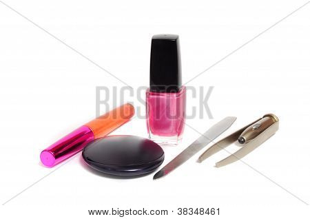 Female Cosmetics Isolated On A White Background