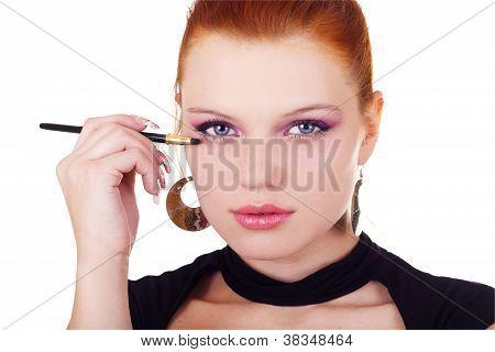 Portrait Of Woman With Eyshadow Brush