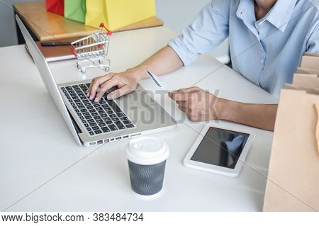 Woman Using Credit Card Register Security Code And Payments Online Shopping And Customer Service Net