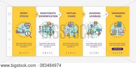 Business Investment Tips Onboarding Vector Template. Capital Management And Financial Analysis. Resp