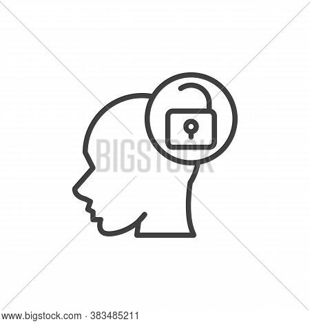 Open Mind Line Icon. Linear Style Sign For Mobile Concept And Web Design. Head And Open Padlock Outl