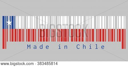 Barcode Set The Color Of Chile Flag, White And Red With The Blue Color And White Star On Grey Backgr