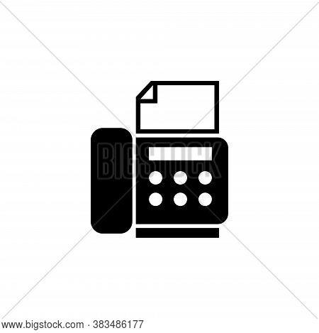 Telephone Fax Office Machine, Telefax. Flat Vector Icon Illustration. Simple Black Symbol On White B