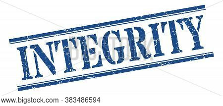 Integrity Stamp. Integrity Square Blue Grunge Sign.