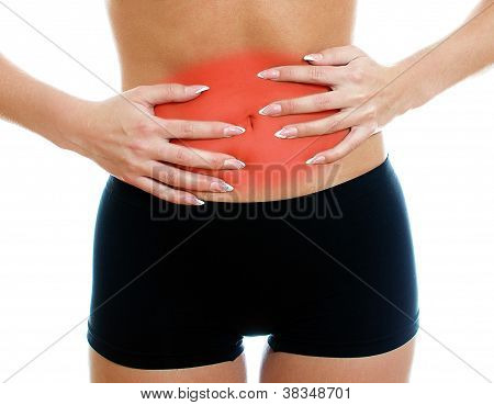 Close Up View Of Woman Suffering From Stomach Ache. Isolated On White