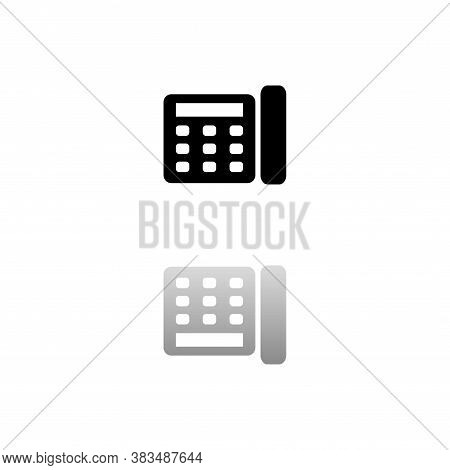 Fax. Black Symbol On White Background. Simple Illustration. Flat Vector Icon. Mirror Reflection Shad