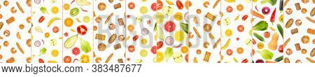 Delicious pattern from bread products, vegetables and fruits isolated on a white background.