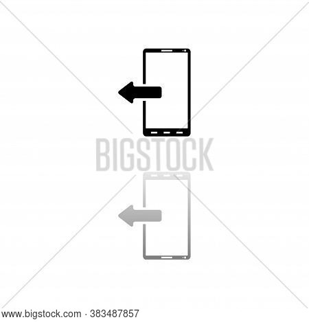 Outcoming Calls. Black Symbol On White Background. Simple Illustration. Flat Vector Icon. Mirror Ref