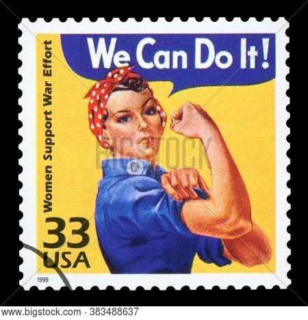 United States - Circa 1999 : Canceled Us Postage Stamp Showing An Image Of Rosie The Riveter Commemo