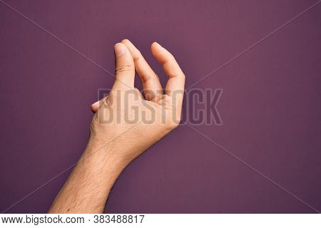 Hand of caucasian young man showing fingers over isolated purple background snapping fingers for success, easy and click symbol gesture with hand