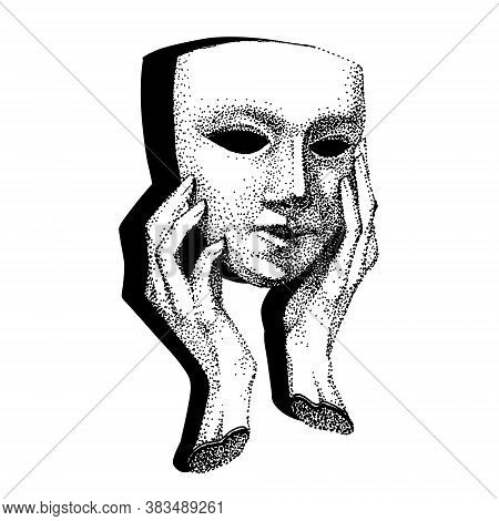 Mask In Hands With Shadow. Theater Actor Tattoo. Hypocrite, Pretender, Trickster, Many Faces. Vintag
