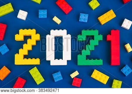 Tambov, Russian Federation - August 26, 2020 Lego Numbers 2021 With Some Lego Bricks On Blue Backgro