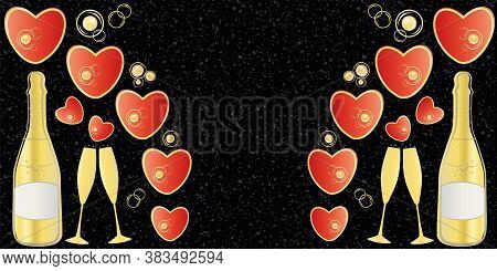 Champagne And Red Hearts Vector Border With Space For Copy. Gold Bottles, Glasses And Love Symbols O