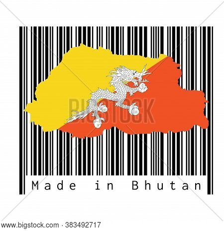 Map Outline And Flag Of Bhutan On Black Barcode With White Background, Text: Made In Bhutan. Concept
