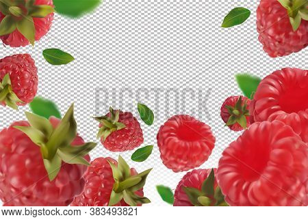 Raspberry Background. Flying Raspberry With Green Leaf On Transparent Background. Raspberry Falling