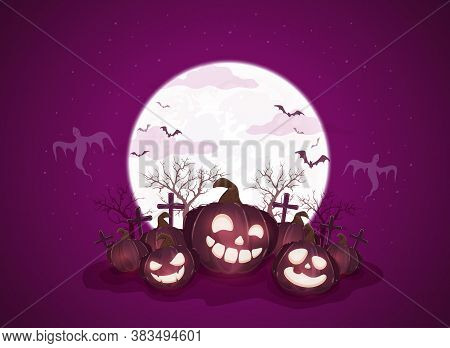 Happy Halloween Theme With Pumpkins On Purple Night Background. Holiday Theme With Jack O' Lanterns