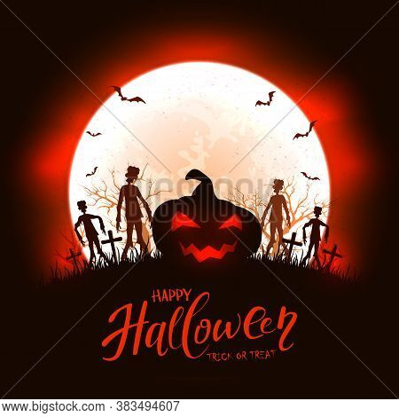 Scary Pumpkin And Zombies On Cemetery. Black And Red Night Background With Jack O' Lantern, Monsters