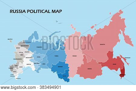 Russia Political Map Divide By State Colorful Outline Simplicity Style. Vector Illustration.
