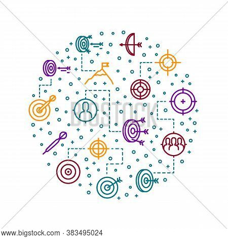 Target Signs Thin Line Concept Round Design Template Include Of Aim, Arrow, Focus And Weapon. Vector