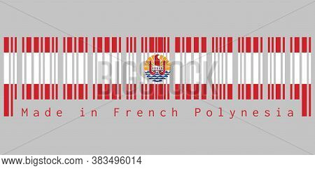 Barcode Set The Color Of French Polynesia Flag, Two Red Horizontal And Wide White; Centered Is A Dis