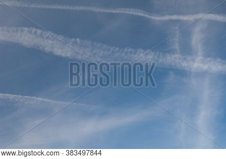 Contrails Of Airplanes In The Sky Of Huesca.