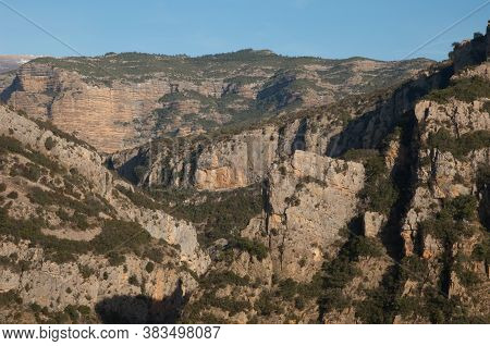 Cliffs And Ravines In The Natural Park Of The Mountains And Canyons Of Guara.