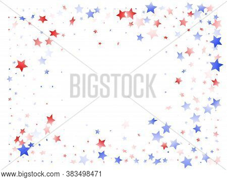 American Patriot Day Stars Background. Confetti In Us Flag Colors For Independence Day. Vivid Red Bl
