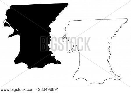 East Baton Rouge County, Louisiana (u.s. County, United States Of America, Usa, U.s., Us) Map Vector