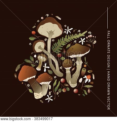 Forest Ornate Vector Nature Print. Greeting Autumn Card With Different Mushrooms, Fern And Forest He