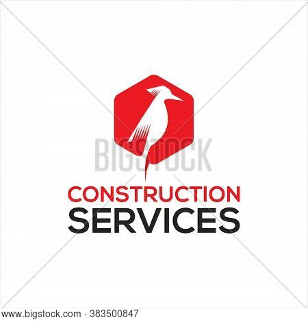 Woodpecker Logo Simple Modern Red Hexagon Inspiration For Fun Construction Company Logo Design