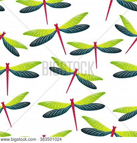 Dragonfly Flat Seamless Pattern. Summer Clothes Textile Print With Damselfly Insects. Flying Water D