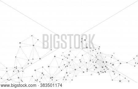 Big Data Cloud Scientific Concept. Network Nodes Greyscale Plexus Background. Interlinkes Nodes Cell