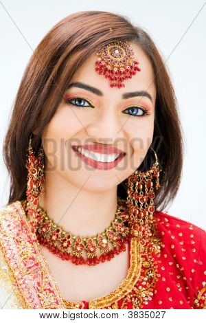 Beautiful Bangali bride in colorful dress isolated poster