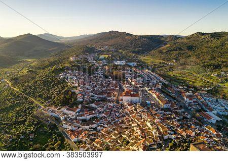 Castelo De Vide Drone Aerial View In Alentejo, Portugal From Serra De Sao Mamede Mountains