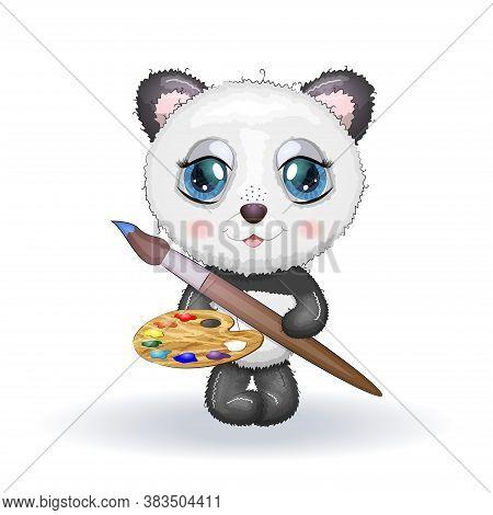 Funny Cartoon Little Panda Holding Paint Brush And Paint Roller. Creative, Artistic Panda.