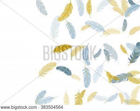 Cool Silver Gold Feathers Vector Background. Detailed Majestic Feather On White Design. Easy Plumele