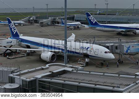 Tokyo Japan July 1 2020 The Landed Airplane At The Haneda Tokyo Airport
