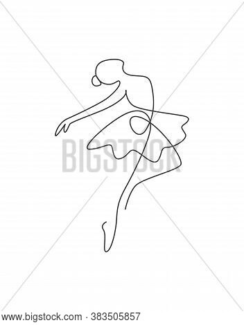 One Single Line Drawing Sexy Woman Ballerina Vector Illustration. Minimalist Pretty Ballet Dancer Sh