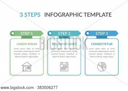 Infographic Template With Three Elements With Arrows And Place For Your Text And Icons, Workflow, Pr