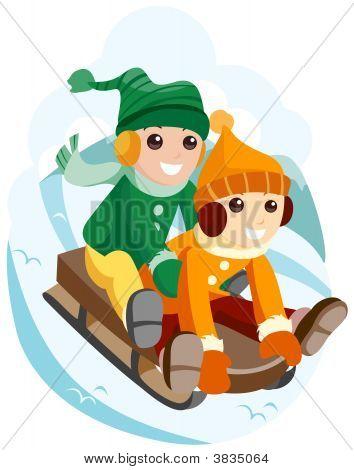 Children On Snow Sled